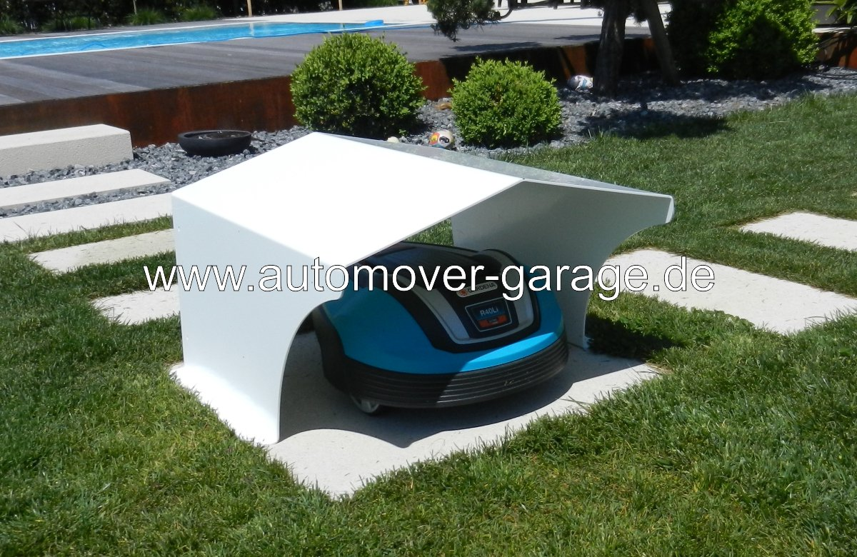 Robotic Lawnmower Garage Standard White www.automover-garage.de