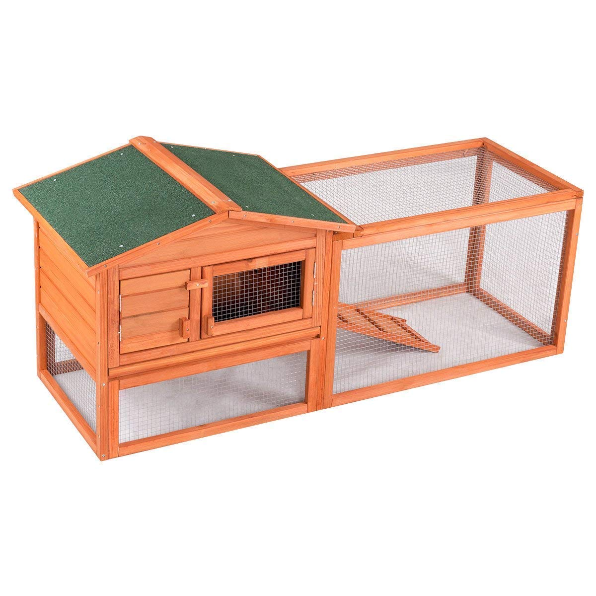 Tangkula Chicken Coop Outdoor Wooden Chicken Coop Garden Backyard Farm Bunny Hen House Rabbit Hutch Small Animal Cage Pet Supplies for Chicken, Duck, Rabbit, etc (61.5'' x 20.5'' x 27''(L x W x H)) by Tangkula (Image #5)