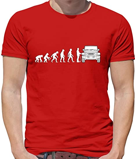 06d96ab5905228 Evolution of Man - Jeep Fahrer - Herren T-Shirt - 13 Farben  Amazon.de   Bekleidung