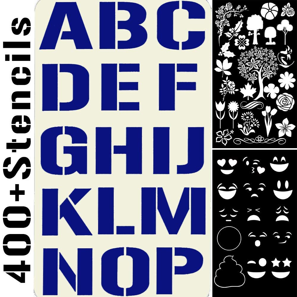 20 Stencils Set Alphabet Letters Numbers for Art and Craft DIY, Face Paint, Bullet Journal, Planner Writing, Doodle Drawing, Decorate Fabric Wood Rock Glass Ceramic Porcelain -Reusable Stencil 4x7in