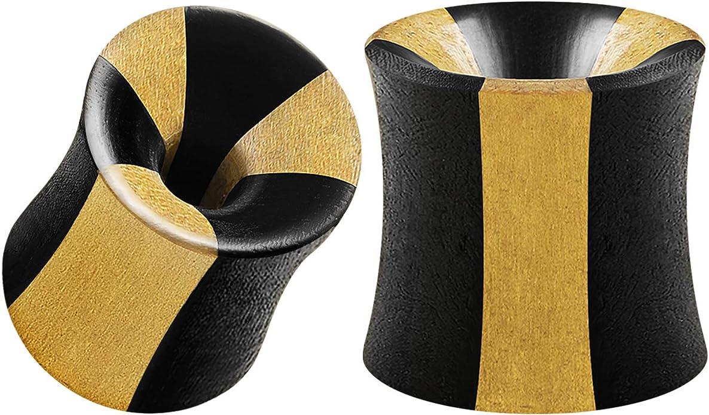 """Pair Areng Wood Double Flare Saddle Ear Plug CZ Crystal Gem Inlay Gauges 2g-5//8/"""""""