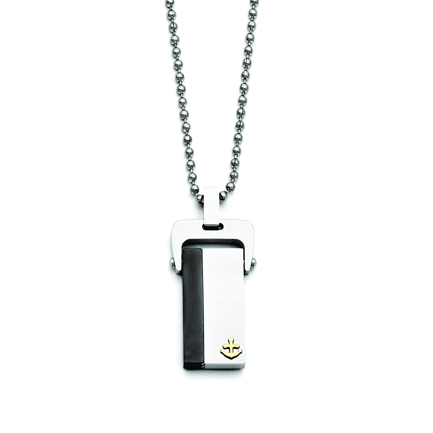 Shop4Silver Stainless Steel Polished Yellow /& Black Ip-Plated Dog Tag Necklace