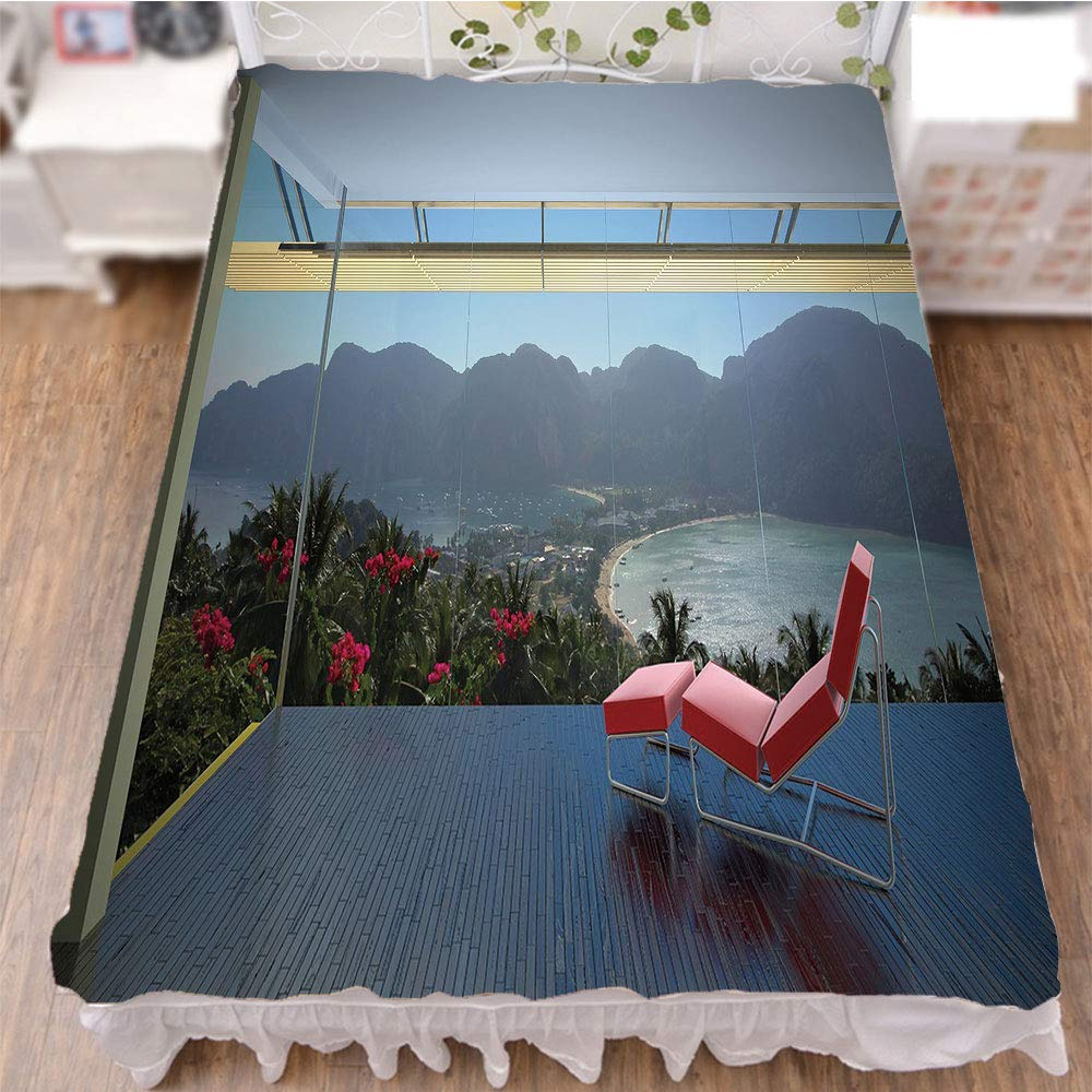iPrint Bedding Duvet Cover Set 3D Print,Forest Mountains Beach Window View,Red Charcoal,Fashion Personality Customization adds Color to Your Bedroom. by 47.2''x78.7''
