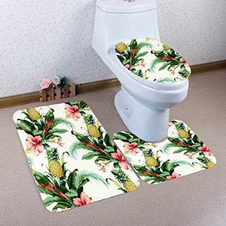 3D Tree Print Bath Mat Carpet Rug 3PCS Toilet Covers Non-slip Bathroom Pedestal