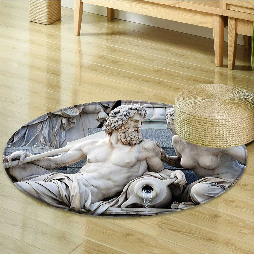 Dining Room Home Bedroom Carpet Floor Mat Male and Female Statues Athena Fountain in front of the Building Non Slip rug-Round 51''