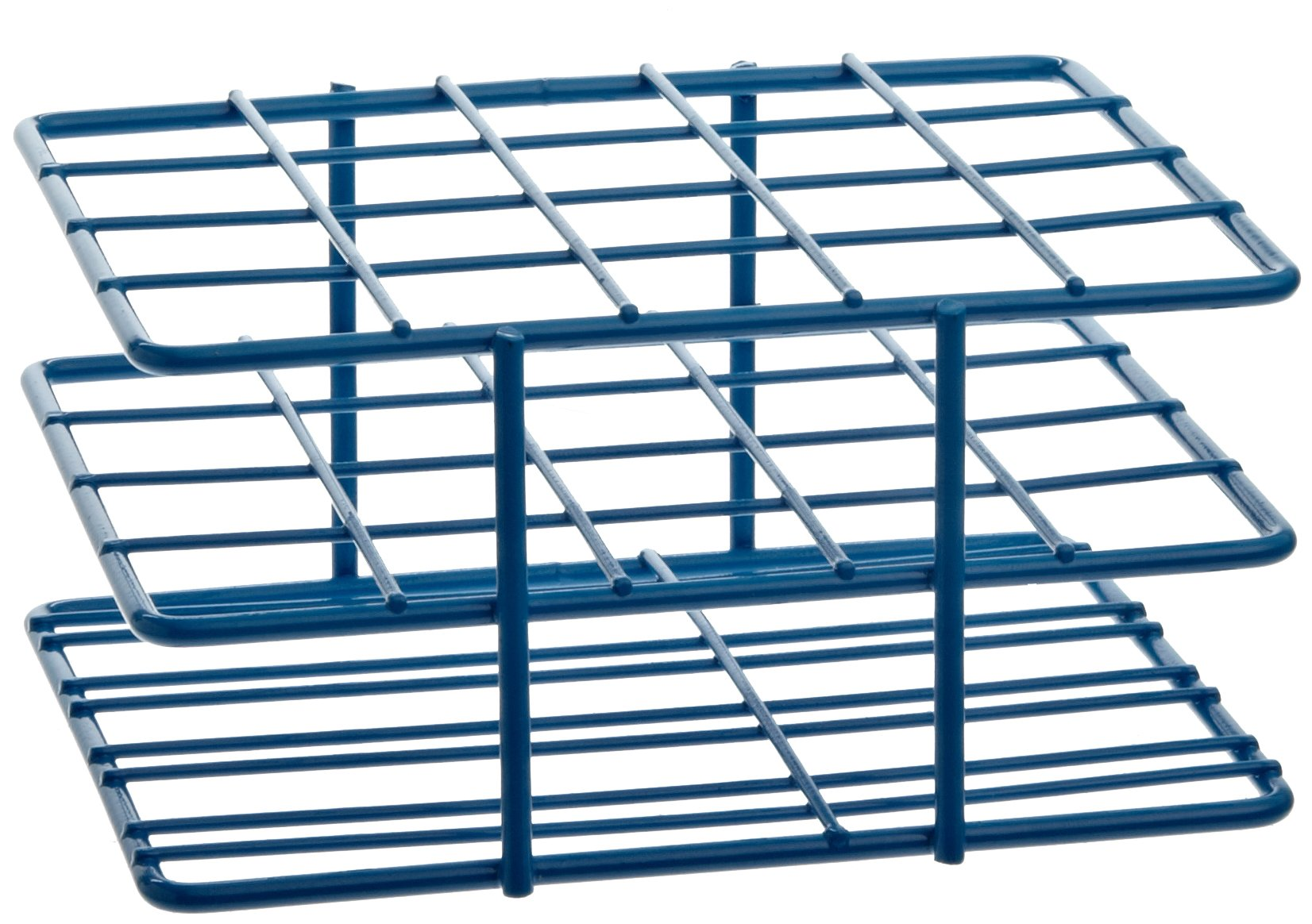 "Bel-Art F18788-2001 Poxygrid ""Half-Size"" Test Tube Rack; 18-20mm, 20 Places, 4¹⁵/₁₆ x 4¹/₄ x 2¹/₂ in., Blue"