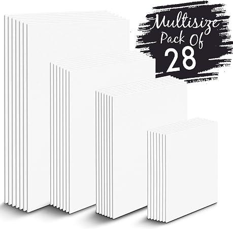 Zenacolor - Set de 28 Canvas - Laminas para Pintar Multisizes - 13x18, 20x25, 24x30, 30x40-100% Algodón sin Ácidos - Todos los tipos de Pintura sobre Lienzos: Amazon.es: Hogar