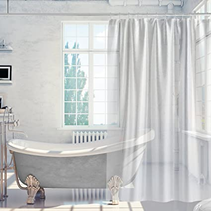 HOMFY Waterproof PEVA Shower Curtain 72quotx72quot With 12 Anti Mould Water