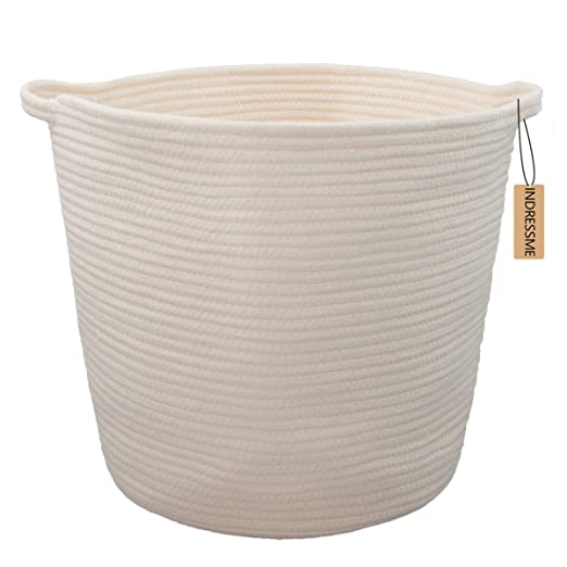 "INDRESSME XL Cotton Rope Storage Basket Baby Laundry Basket Woven Baskets with Handle for Diaper Toy Off White Home Decor 16.0""x 15.0""x12.6"""