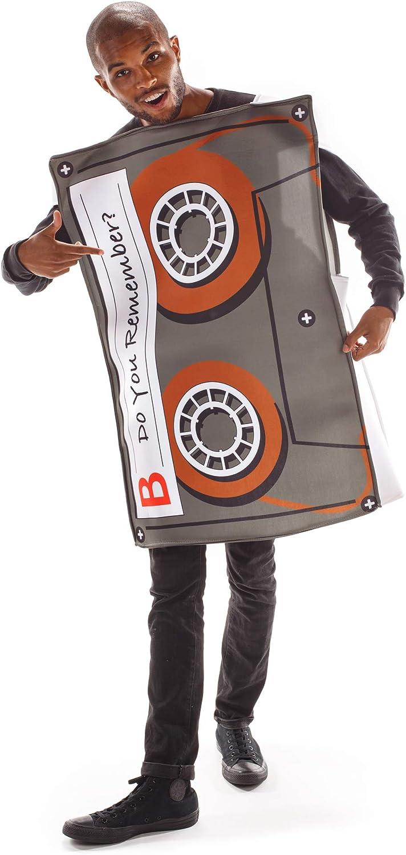 Boo Inc. Cassette Mixtape Halloween Costume  Classic, Funny Adult, One-Size Unisex, Black