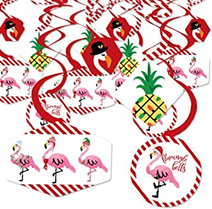 Big Dot of Happiness Flamingle Bells - Tropical Christmas Party Hanging Decor - Party Decoration Swirls - Set of 40