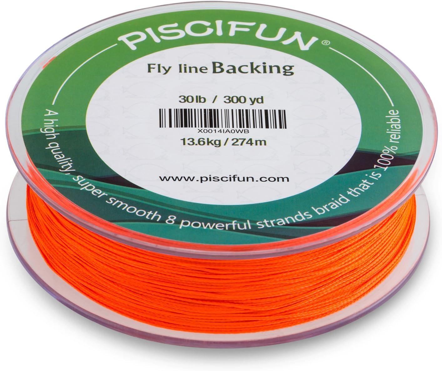 9 kg 9 kg Piscifun Geflochtene Fliegenschnur mit orange-wei/ßem fluoreszierendem Gelb 30 kg 300 m