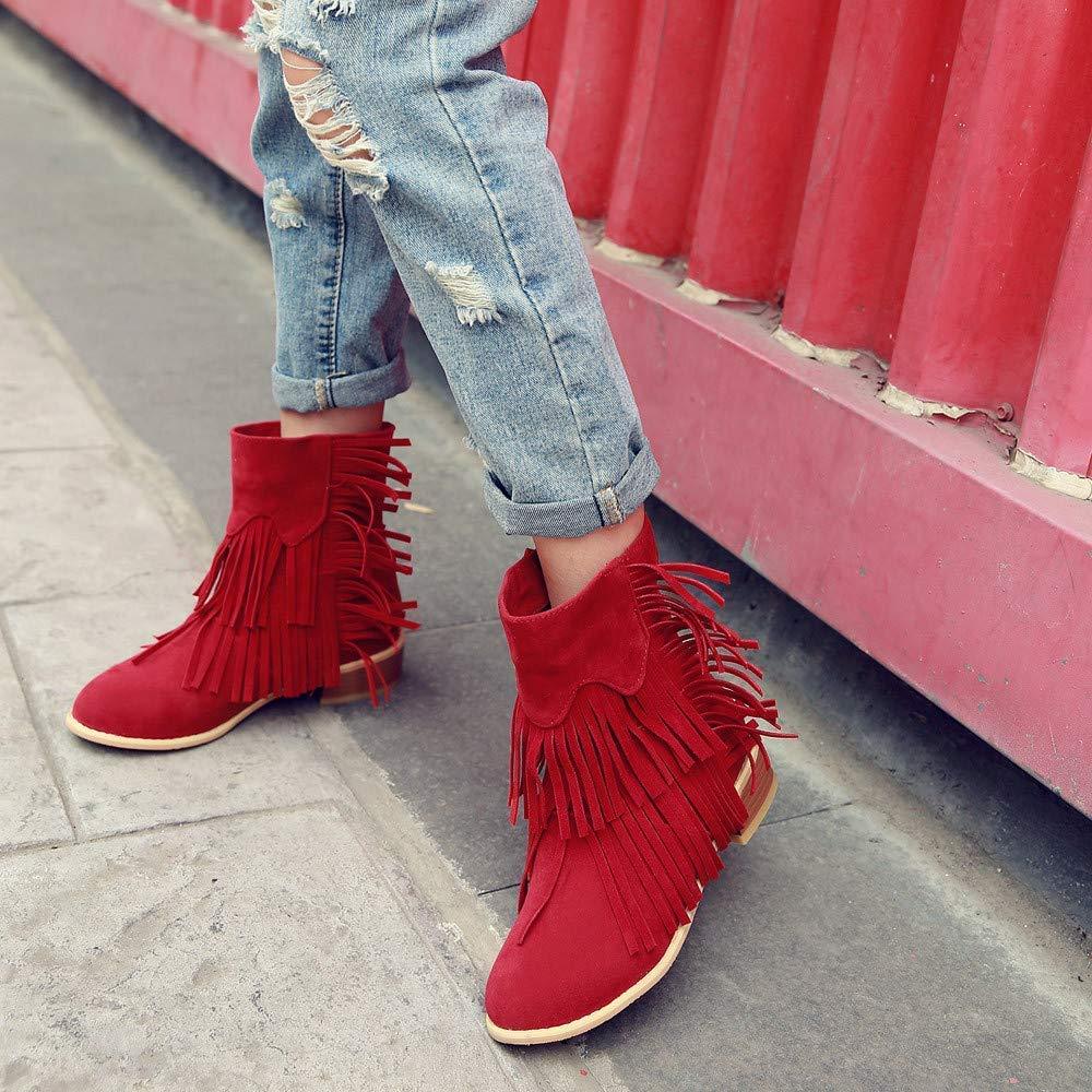 Oudan Stiefel Damen Schuhe Frauen Stiefeletten Mode Flache Niedrige Slip-on Kurze Quaste Stiefeletten Freizeitschuhe Martin Stiefel Kurze Slip-on Stiefel Keilabsatz (Farbe   rot1 Größe   36 EU) 6e8e0c