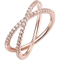 PAVOI 14K Gold Plated X Ring CZ Simulated Diamond Criss Cross Ring (5 Rose)