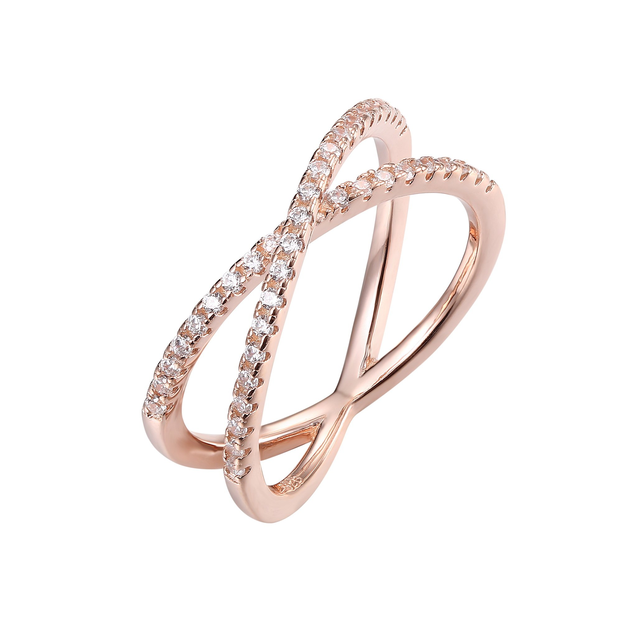 PAVOI 14K Gold Plated X Ring CZ Simulated Diamond Criss Cross Ring (9, Rose)