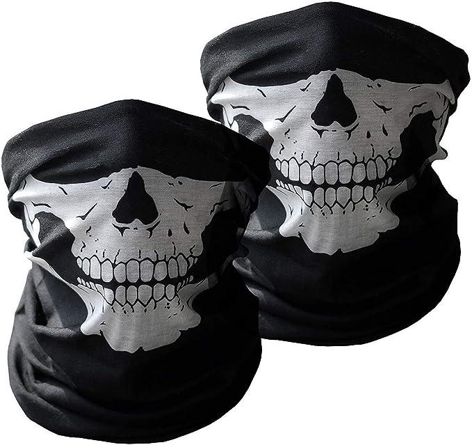 Xpassion 3 Stück Premium Sturmmaske Totenkopf Schwarz Skull Maske Multifonction Sturmmaske Ghost Für Motorrad Fahrrad Ski Paintball Gamer Karneval Kostüm Bekleidung