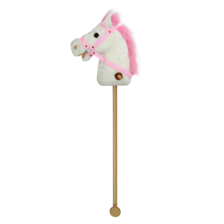 Beauty Pink Papaya Cheval b/âton de la Marque Cheval Jouet Mignon en Peluche avec Fonction sonore: bruits de Galop et dhenissement Couleur: Noir avec crini/ère Blanche