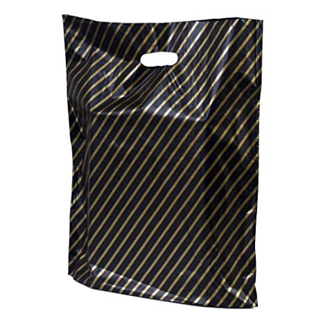 """100 Black /& Gold Stripe Plastic Carrier Bags 22/""""x18/""""+3/"""" Strong Patch Handle Gift"""
