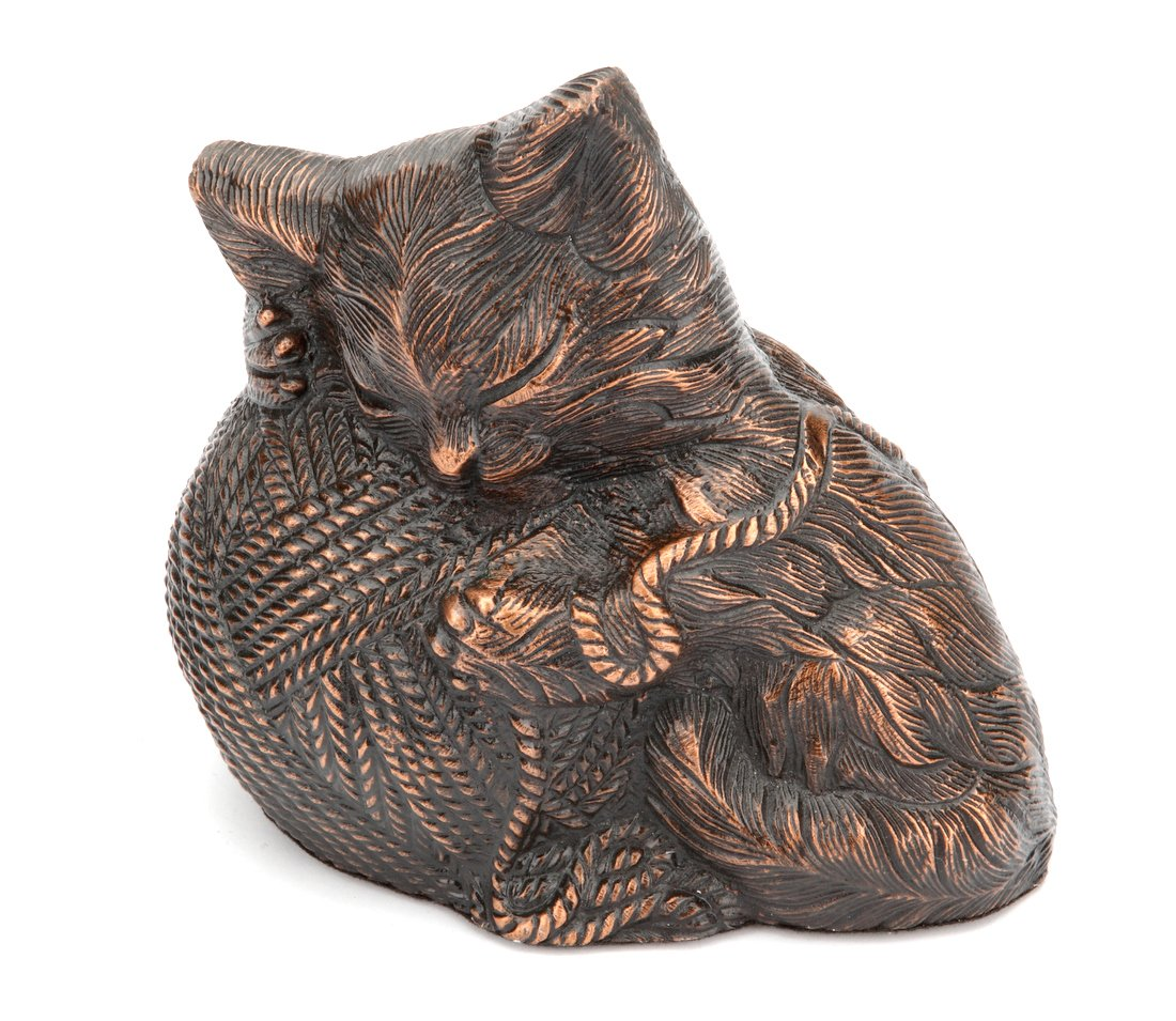 Copper Urns UK Kitty Ball Cat Urn, Antique Copper
