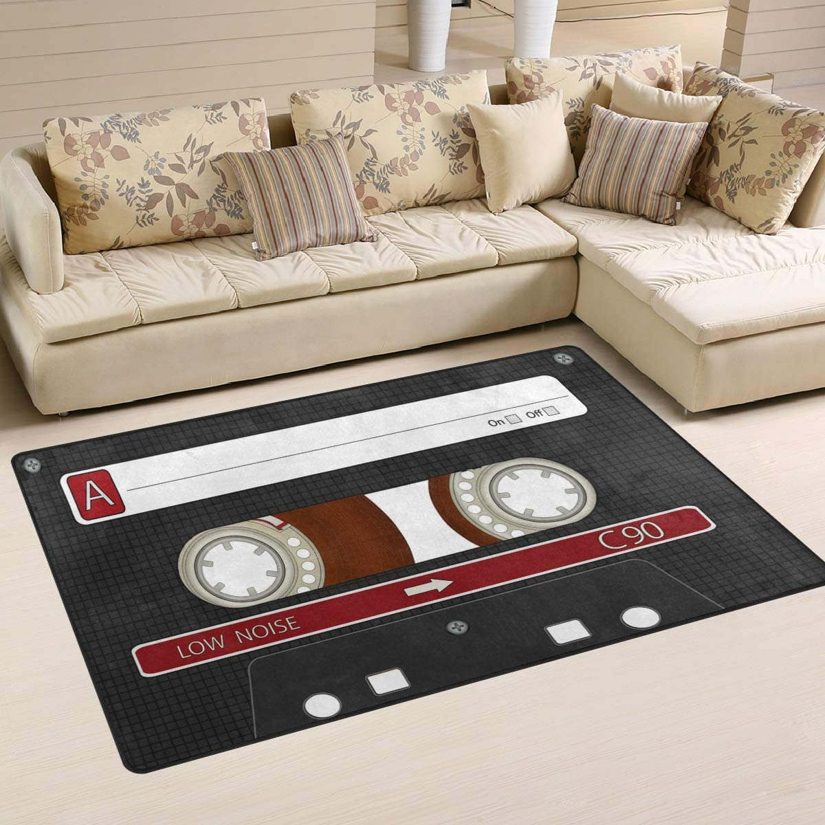 WOZO Audio Cassette Tape Music Area Rug Rugs Non-Slip Floor Mat Doormats Living Dining Room Bedroom Dorm 60 x 39 inches inches Home Decor