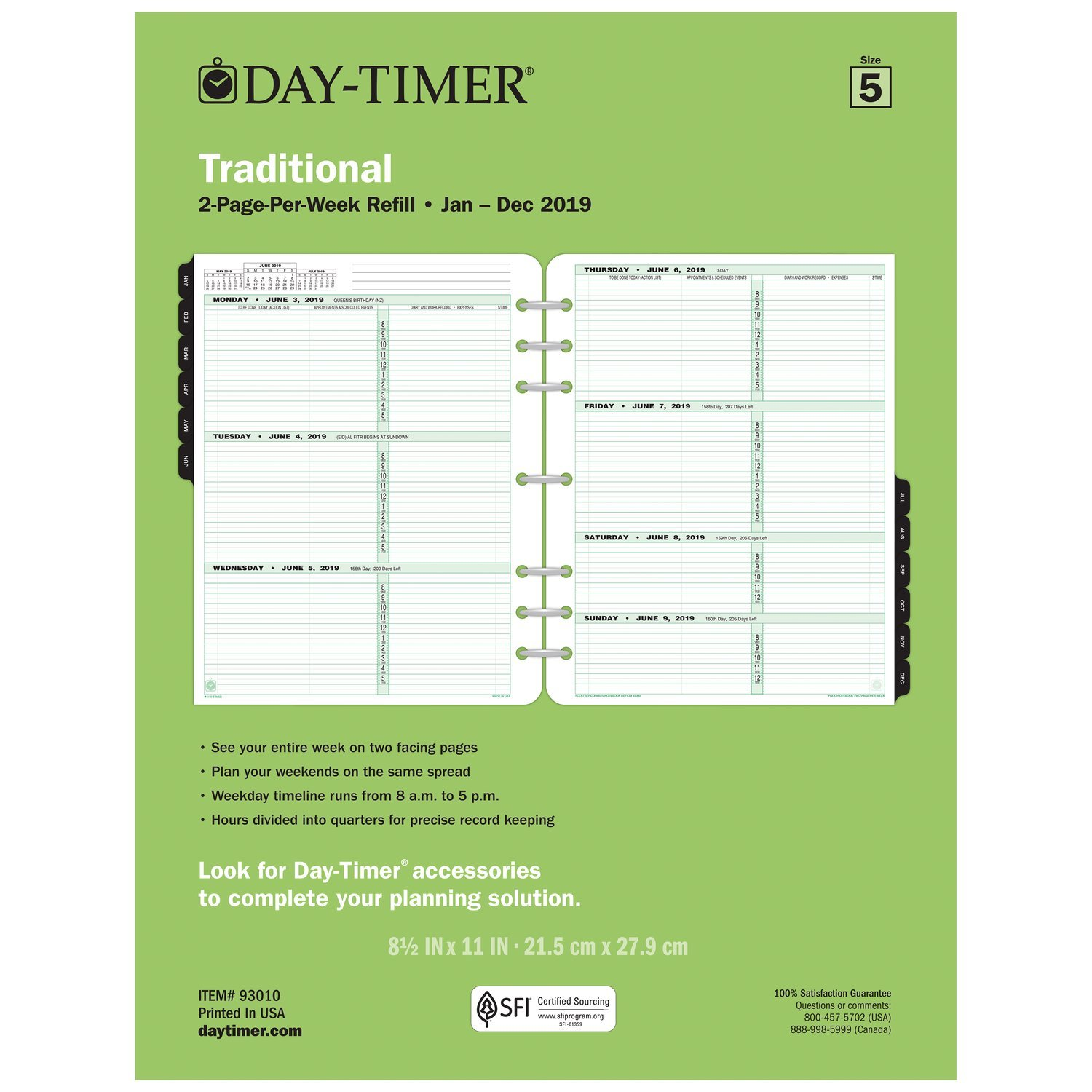 Day-Timer Refill 2019, Two Page per Week, January 2019 - December 2019, 8-1/2'' x 11'', Loose Leaf, Folio Size, Classic (93010)