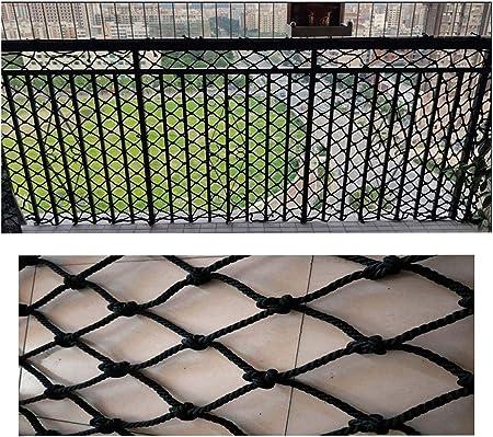 Patio al aire libre barandilla escalera escalera, Red de Cuerda de Nylon Negro Red de Seguridad