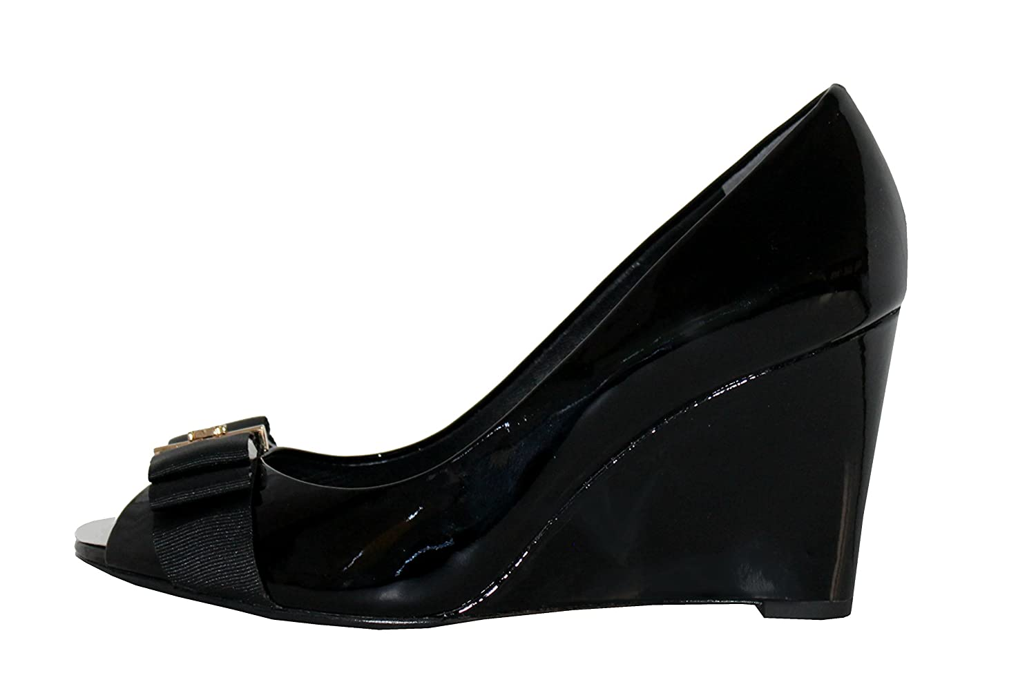e5c8998f010e Tory Burch Black Trudy 85mm Open Toe Patent Leather Wedges (8.5)   Amazon.co.uk  Shoes   Bags