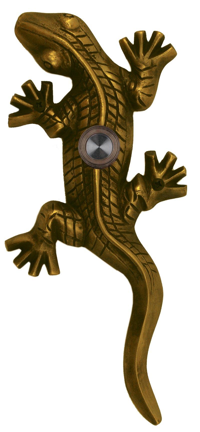 Waterwood Brass Large Lizard / Gecko Doorbell in Antique Brass