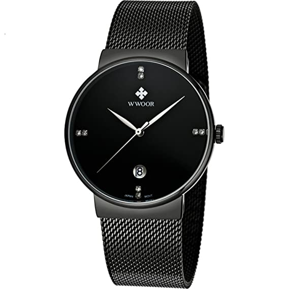 Hombres Relojes Top Marca Luxus Agua Densidad Ultra Fina Fecha Reloj Masculinos Correa de Acero LÄSSIG