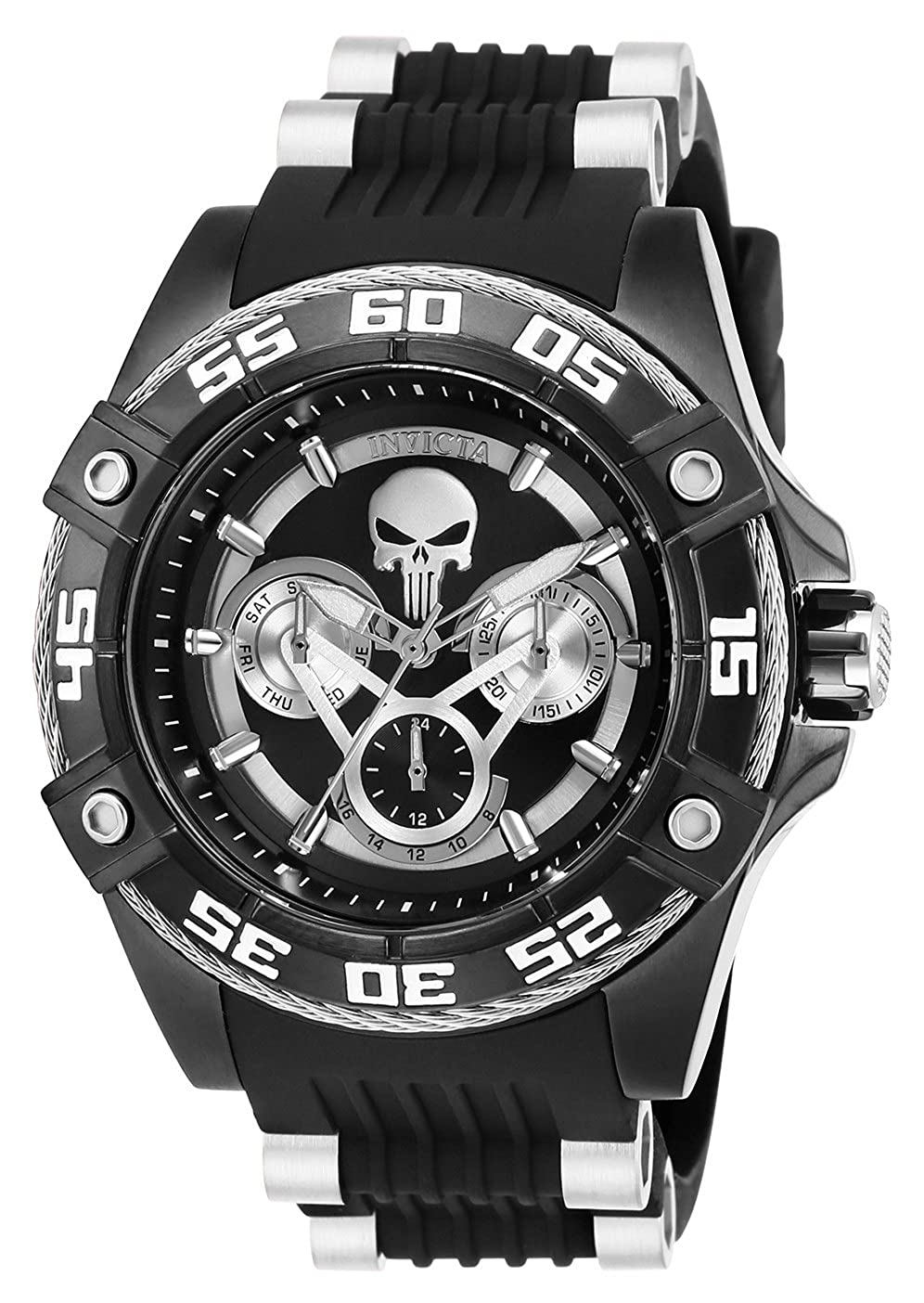 Invicta 27033 Marvel - Punisher Reloj Unisex acero inoxidable Cuarzo Esfera negro