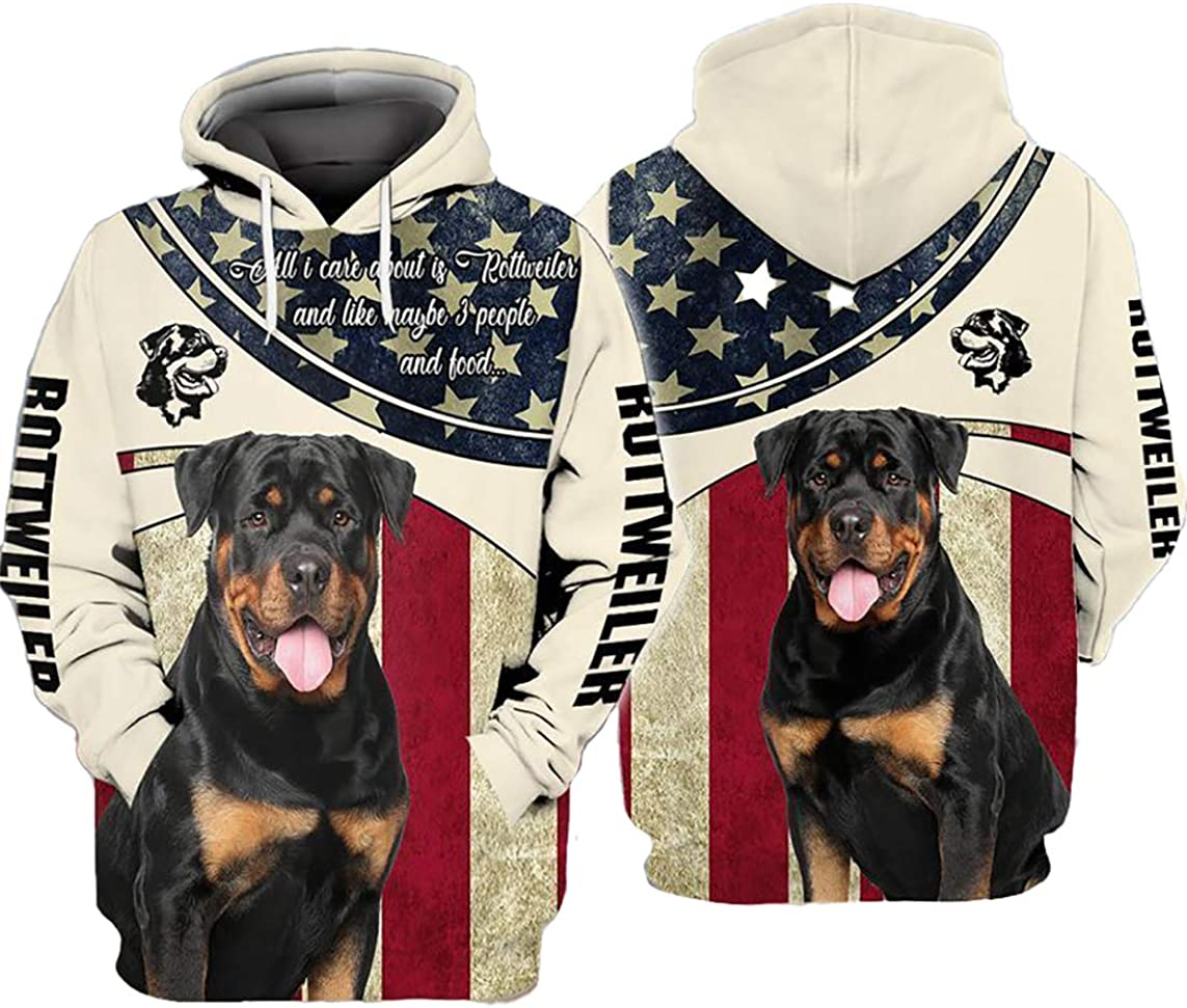 iGift Rottweiler All I Care About is Rottweiler and Like Maybe 3 People and Food American Flag All Over Printed Pefect 3D Hoodie, Zip Hoodie, Sweatshirt