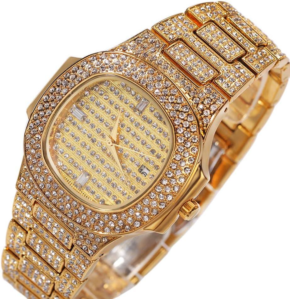 Orologio di diamanti hip-hop di fascia alta, grande orologio casual, gioielli, gioielli e gioielli da uomo (oro, argento, oro rosa) gold
