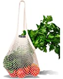 "NetNeed Cotton Reusable Net Shopping Tote String Bag Organizer for Grocery Shopping & Beach, Storage, Fruit, Vegetable and Toys -Lightweight & Sturdy Mesh Produce bag(15 x 19"", Natural/Long Handle)"
