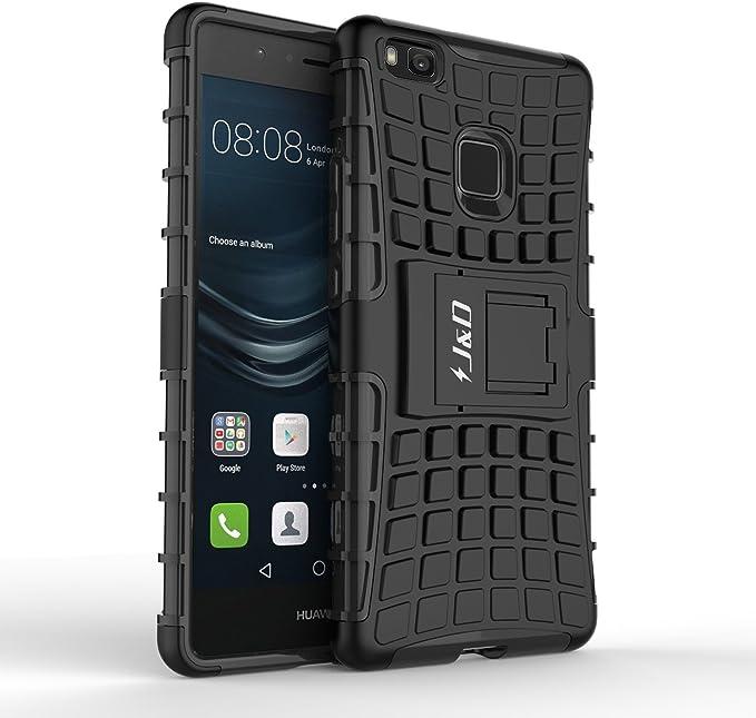 J&D Compatible para Huawei P9 Lite Funda, [Soporte] [Doble Capa] [Protección Pesada] Híbrida Resistente Funda Protectora y Robusta para Huawei P9 Lite - Negro: Amazon.es: Electrónica