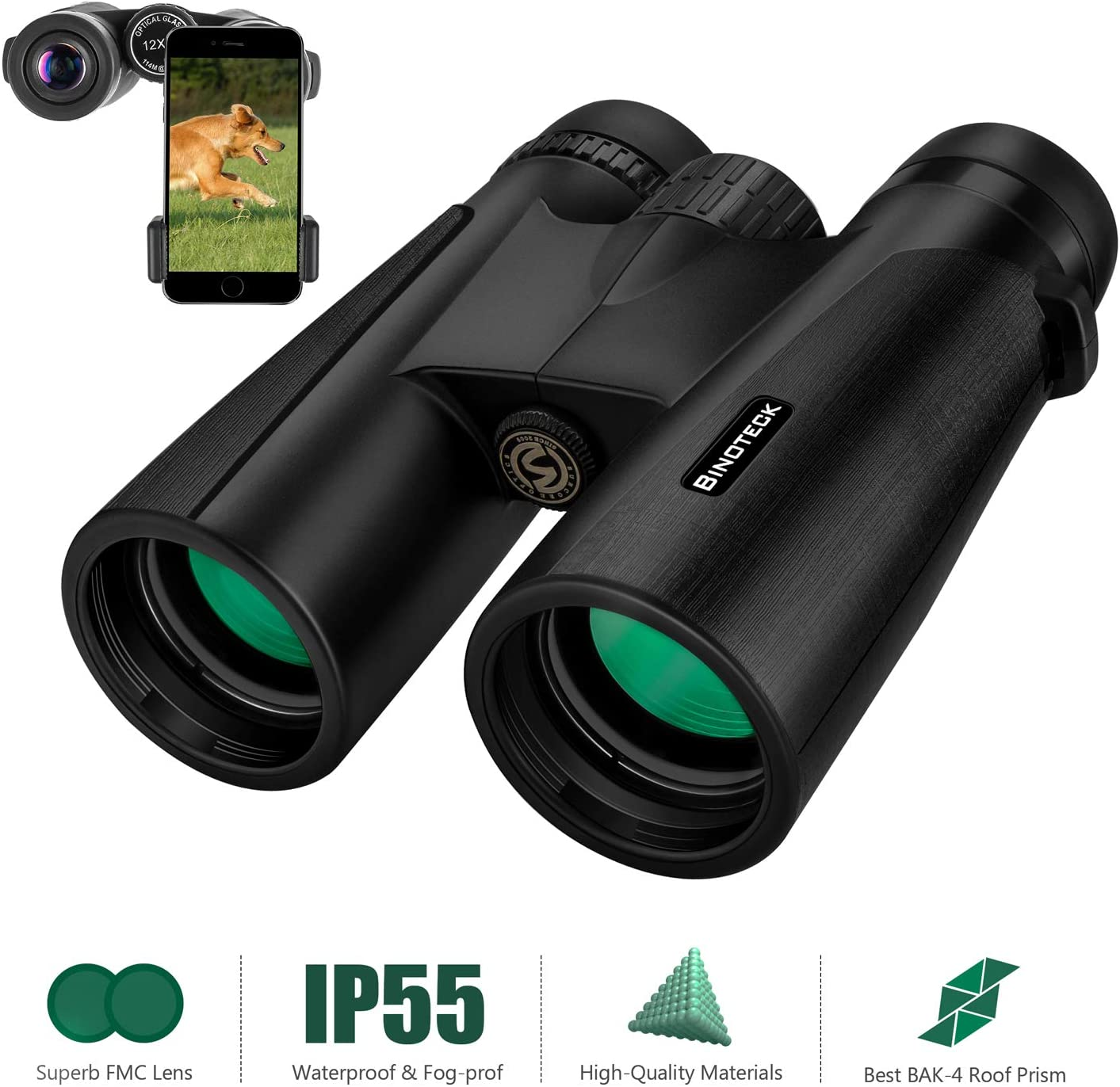 Binoteck 12×42 Binoculars for Adults Clear Weak Light Vision Compact HD Binoculars for Bird-Watching Travel Hunting Concerts Opera Sports Bak4 Prism Fmc Lens with Phone Mount Strap Carrying Bag, Black