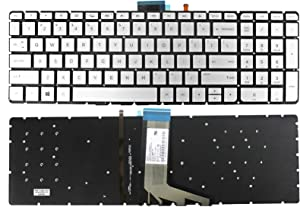 GinTai Laptop Backlight Keyboard Without Frame Replacement for HP X360 m6-w101dx m6-w102dx m6-w103dx Silver (Not Applicable to Round Corners Keyboard)
