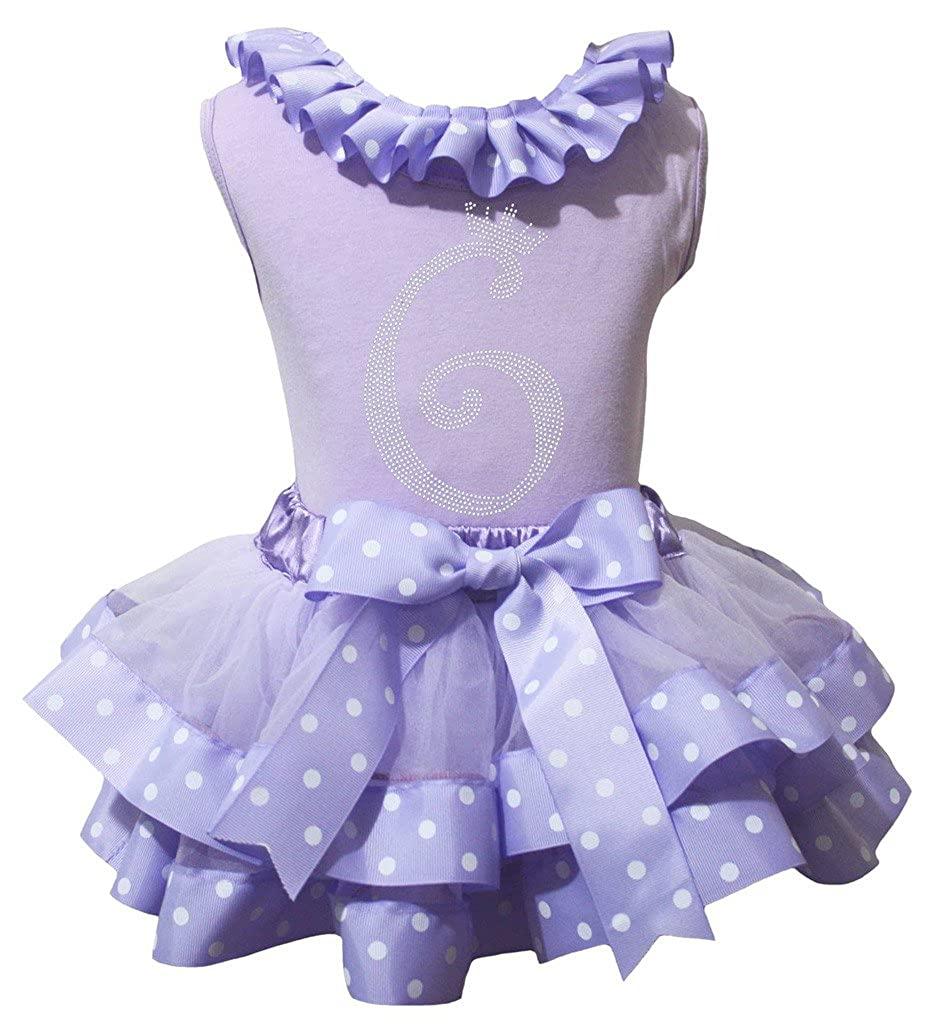 Petitebella Bling 6th Lavender Shirt Dots Ribbon Petal Skirt Nb-8y