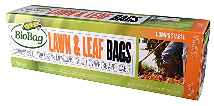 BioBag Certified Compostable 33 Gallon Lawn & Leaf Bags - 10 CT