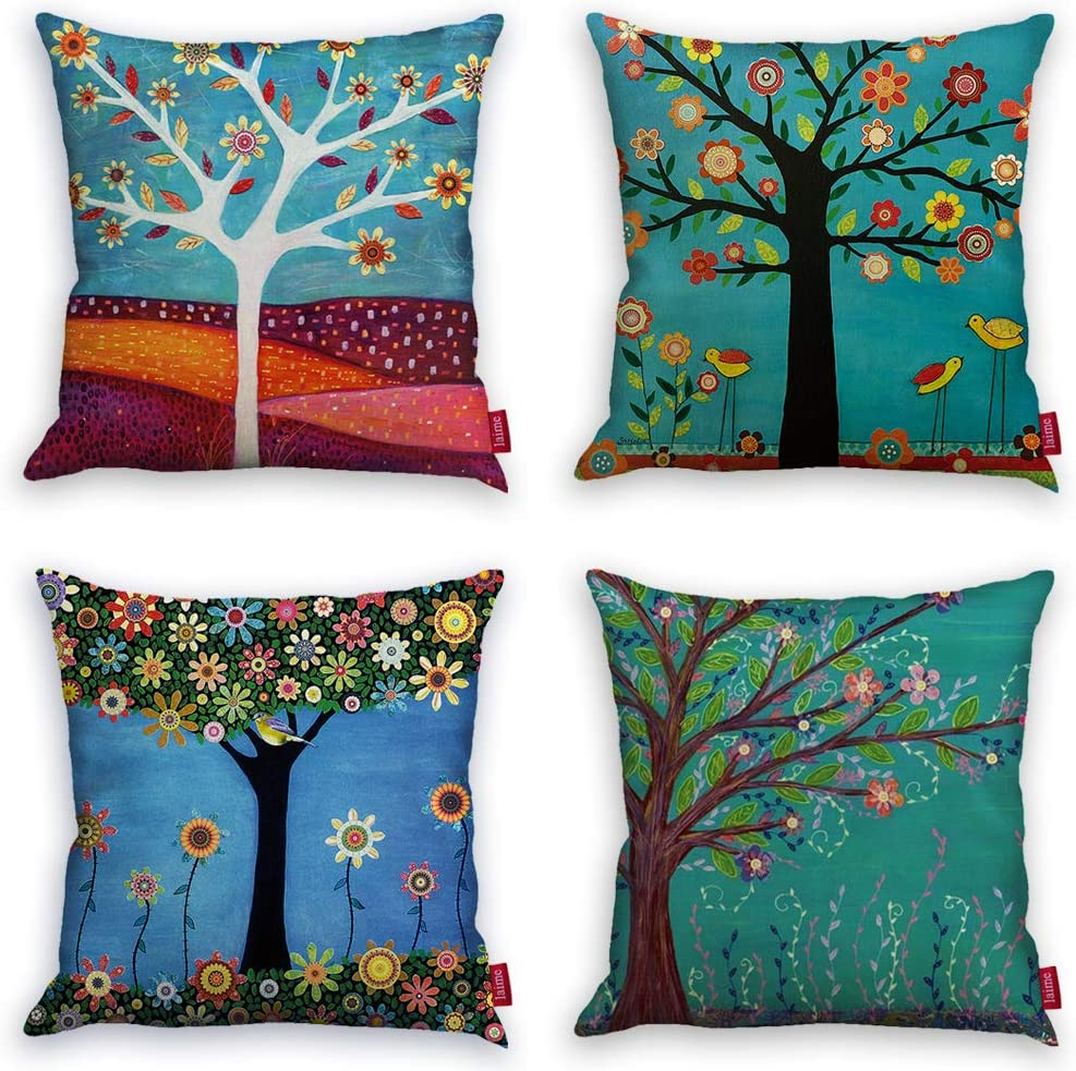 Laime Throw Pillow Covers Natural Pattern Decorative Pillowcases 18x18inch 4 Pieces Set Pillow Cases Home Car Decorative Trees And Birds Kitchen Dining Amazon Com