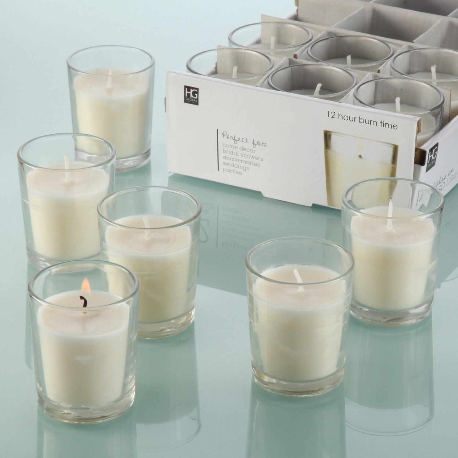 shop amazon com candles holders hosley set of 48 unscented clear glass wax filled votive candles 12 hour burn time glass votive hand poured candle included ideal gift or use for