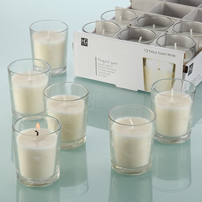 Hosley Set of 48 Unscented Clear Glass Wax Filled Votive Candles - 12 Hour Burn Time. Glass Votive & Hand Poured Candle Included, Ideal Gift or Use for Aromatherapy, Weddings, Party Favors O1