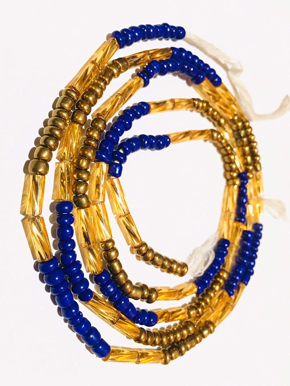 Blue and Gold Waist Beads Tribal Waist Beads- Tie On or Clasped African Waist Bead Ghana Waist Beads