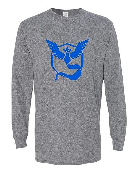 e8aea912 Pokemon Go Gym Team Mystic Blue Long Sleeve Tee T-Shirt Dark Grey X Small