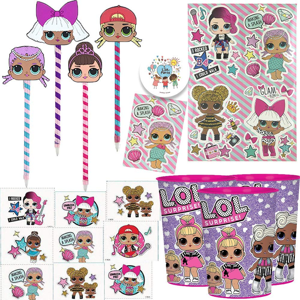 Amazon com lol surprise birthday party favors pack for 8 guests with lol pens removable tattoos stickers favor cups and exclusive birthday pin
