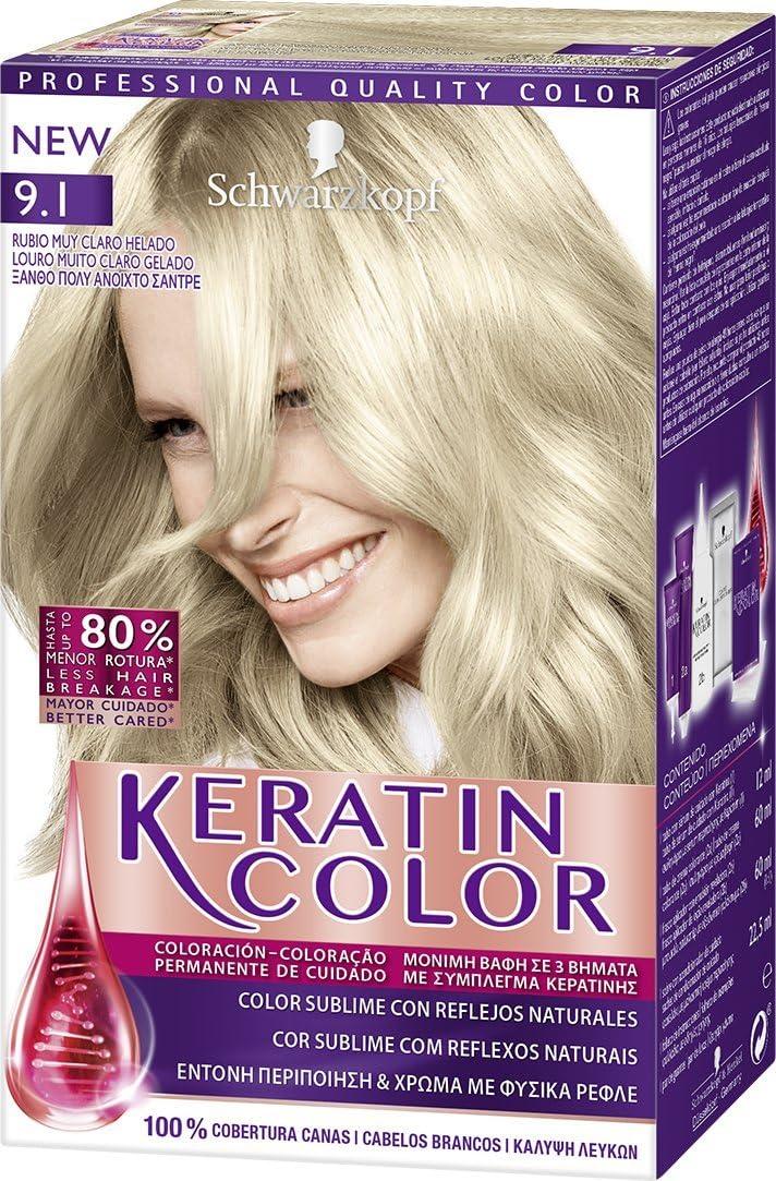 Keratin Color de Schwarzkopf - Tono 9.1 Rubio Muy Claro Helado - 2 uds - Coloración permanente