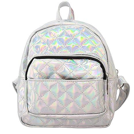 9a7c894ab373 Amazon.com  Liliam Women Holograhic Backpack Daypack Satchel Shoulder  Travel School Bag Tote Bag(Silver)  liliam