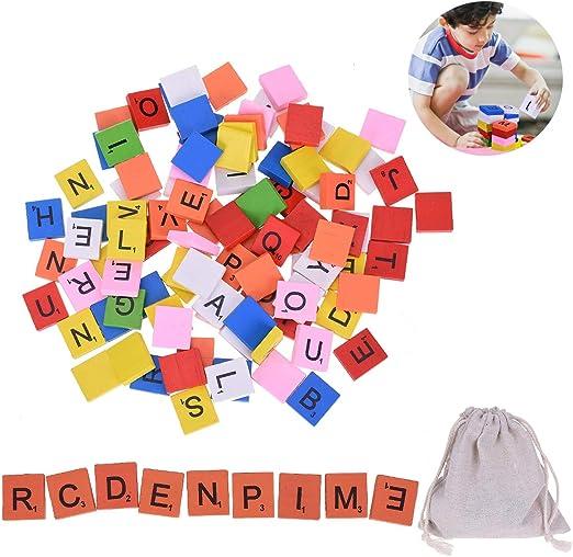OZUAR - 100 piezas de madera alfabeto Scrabble azulejos coloridos letras de madera números con 1 bolsa de lino con cordón para coleccionar, para Scrabble Board Game Craft Infantil Educativa: Amazon.es: Hogar