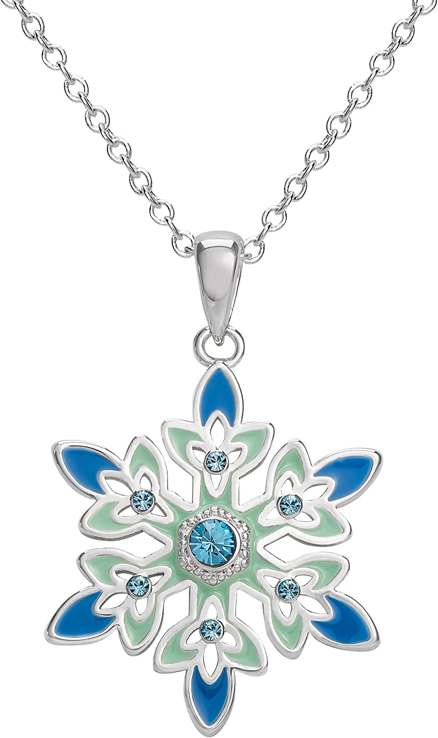 Once Upon A Time Character Anna Frozen Silver Crystal Snowflake Pendant Necklace