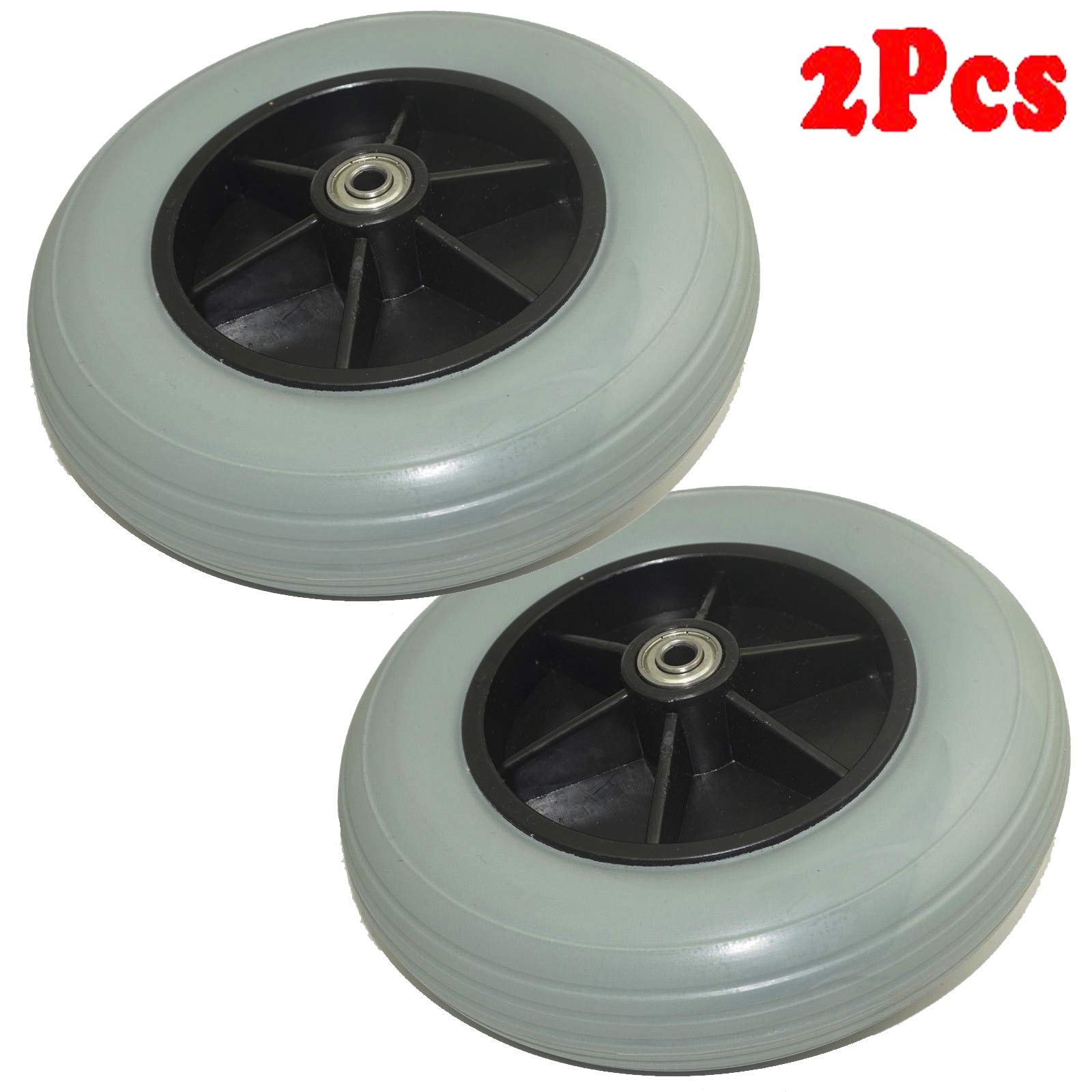 (Pair of Two) ,8'' x 2'' (200x50) Solid Rubber Front Rear Caster Tires Wheels Assembly for Jazzy, Quantum, and Jet Power Wheelchair's/Electric Wheelchair for Many Standard Wheelchairs Replace