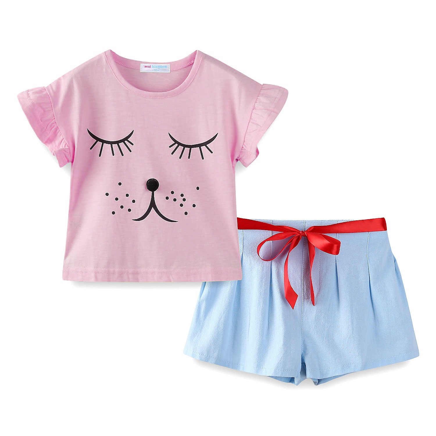 Mud Kingdom Cute Girls Clothes Size 7/8 Pink Funny Puppy